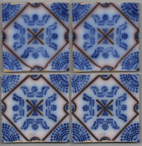 Set Of 4 Pas Calais French Original Period Desvres Antique Tile C1890 Lis Flower
