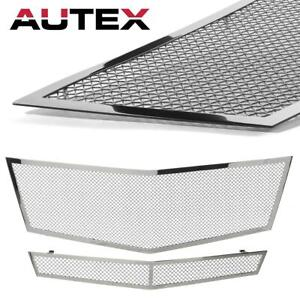 Chrome Stainless Steel Mesh Grille Combo Fits For Cadillac Cts 2008 2009 2010