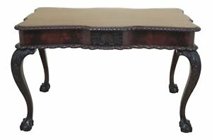 F46809ec Vintage Chippendale Mahogany Ball Claw Carved Desk Table
