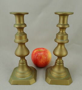 Pair Brass Candlesticks C Early 19th Cent