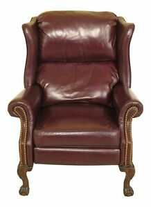 F46783ec Burgundy Leather Ball Claw Foot Chippendale Recliner Wing Chair