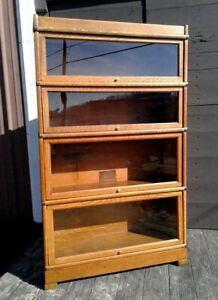 Antique Barrister Bookcase 4 Stack Tiger Oak Globe Wernicke