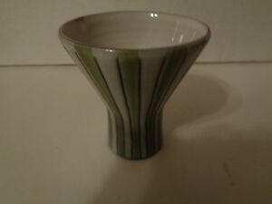 Mid Century Modern Laholm Studio Pottery Gray With Green Vertical Stripes