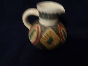 Mid Century Modern Laholm Studio Pottery Gray Diamonds Ovals White Pitcher