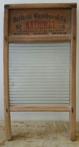 Vintage Antique Reproduction National Washboard Co No 1 Wood Glass Board