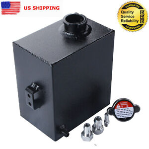 2 5l Universal Aluminum Coolant Radiator Overflow Water Tank Bottle Black