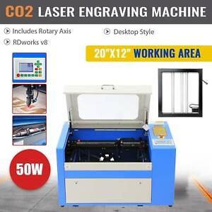 50w Laser Engraving Machine 300 500mm Co2 Engraver Cutter 20 12 W Rotary