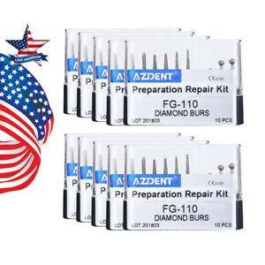 Us 100 X Dental Diamond Burs Set kit Preparation Repair Kit Fg 110 Black Azdent