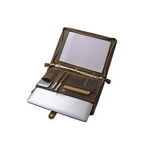 Rustic Leather Organizer Laptop Portfolio With 3 ring Binder For 13 Inch Surf