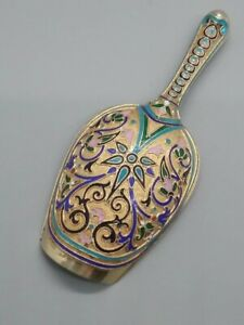Antique Imperial 88 Silver Russian Cloisonne Enamel Caddy Spoon Moscow Kuzmichev