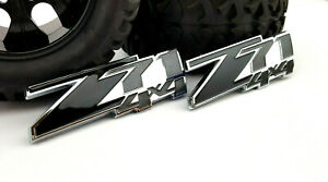 2pcs Z71 4x4 Abs Black Silver Emblem Badge Decal Sticker Chevy Silverado Sierra
