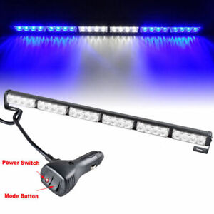 27 24 Led Emergency Flash Strobe Light Bar Warning Fit For Car Blue White Blue