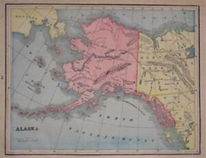 1895 Trading Post Map Alaska Territory Sitka Fort Yukon Alaganik Village Barrow