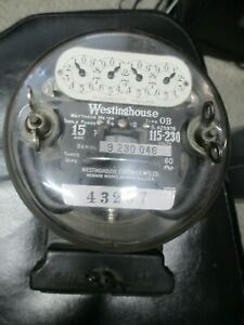Vintage Westinghouse Ob Watthour Power Meter Industrial 15 Amp 115 230 Volts