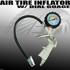 New Pistol Grip Air Tire Inflator With Dial Gauge Car Bike Tractor