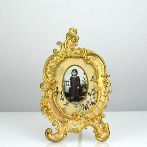 Antique French Rococo Revival Ormolu Photo Picture Frame Gilt Bronze