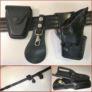 Leather Police Sz 42 Duty Gear Belt W 3 Accessories Incl Rh Glock 17 22 Holster