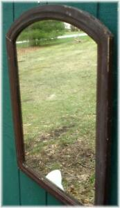 Antique Ogee Mirror Mahogany Original Mirror 24 X 18 Rounded Top Wooden Back