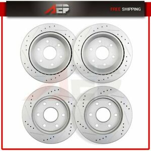 Front Rear Brake Rotors For 2000 2002 Chevrolet Suburban 1500 Drilled