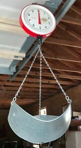 Vintage Chatillon 20 Lb Red Hanging Basket Hardware Scale Store Counter Display