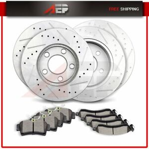 Front Rear Drilled Slotted Brake Rotors Ceramic Pads For Ford Mustang 1999 2004