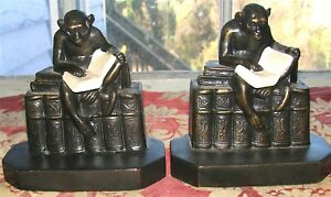 Rare Antique Pair Bookends Monkeys Reading Ivorine Book J B Hirsch 1932 Vg