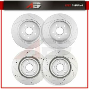 4x Front Rear Drilled Slotted Brake Disc Rotors For 2007 2011 Toyota Camry