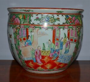 Estate Antique Chinese Famille Rose Medalllion Jardiniere Pot Planter