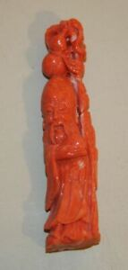 Vintage Chinese Carved Coral Figurine Chou Lao Immortal Old Man Pe