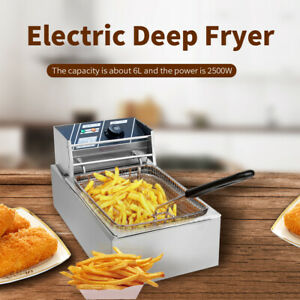 Popular Electric Countertop Deep Fryer Single Basket French Restaurant 2500w New