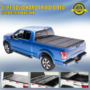 5 7ft 68 4 Truck Bed Hard Solid Tri Fold Tonneau Cover For 2009 2018 Dodge Ram