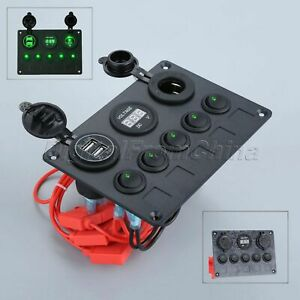 New Green Led Multi function Car Switch Panel 5 Toggle Switche Usb Port Socket