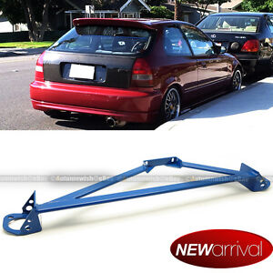 Fit Civic Integra Stainless 3 Point Blue Front Upper Strut Tower Brace Bar