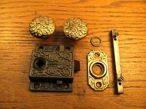Old Screen Door Latch Lock Brass Bronze Knobs Escutcheon Fancy Ornate