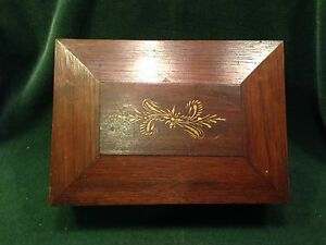 1800 S Casket Shaped Sewing Box With Fitted Interior Walnut Minihan Name Inside