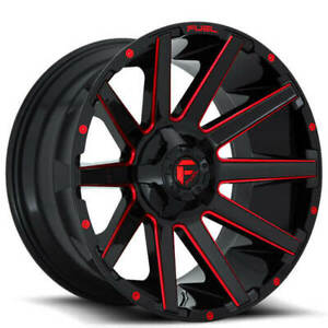 4 Set 22x10 Fuel Wheels D643 Contra Gloss Black W Red Milled Off Road Rims Fs