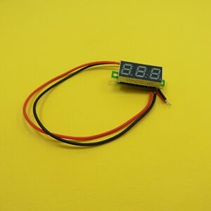0 28 12v Voltmeter Two Wire Green Led Mini Digital Voltage Meter 2 Cables