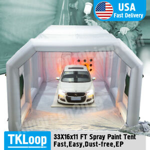 33x16x11ft Large Mobile Portable Gray Inflatable Car Spray Paint Booth Tent