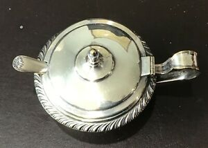 Sterling Silver Covered Salt With Sterling Spoon Cobalt Glass Insert