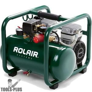 Rolair Jc10plus p1 1hp Compressor Ultra Quiet 2 cyl 125psi Rgltr