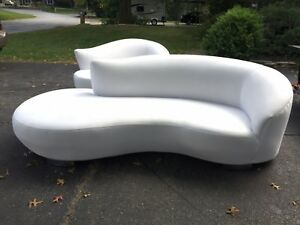 Large 8 Vintage Kidney Shaped Cloud Sofa Kagan Mid Century Modern Chrome Legs