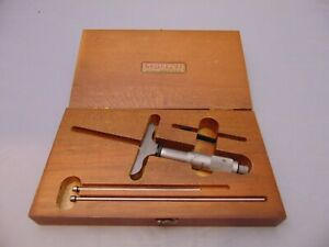 Vintage Ls Starrett Co 440 a 0 3 Depth Micrometer Set Wood Case Made In U s a