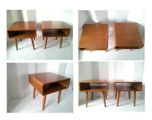 Pair Of 2 Mid Century Modern Danish Style Wood End Tables Night Stands