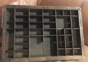 Printers Type Case Or Drawer Antique End Section