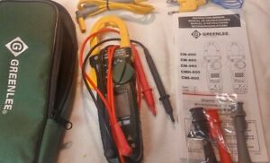 Greenlee Cm 600 Clamp on Multi Meter With Lead Wires Case