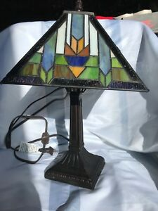 Small Mission Metal Lamp Base Bronze Finish With Stain Glass Shade