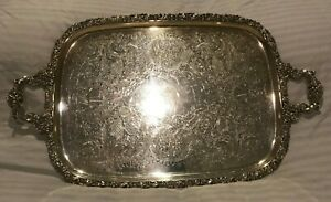 Egw S Epns Silverplate Serving Tray Platter Vintage Silver Plate Antique
