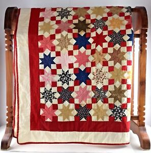 Amish Quilt Red Star Queen 75 X 75 Indiana Blanket Bed Spread Antique Vtg Gift