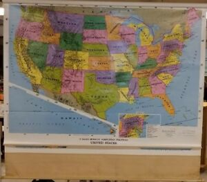 Rand Mcnally 2 Classroom Pull Down Maps United Stated And World Political