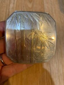 Vintage Sterling Silver Compact Box Japan Bamboo Trees Gold Leafs Signed T Etc